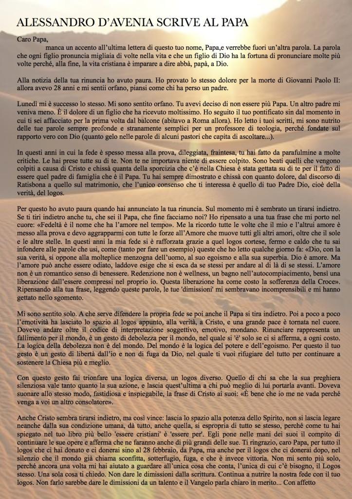lettera di Alessandro D'Avenia