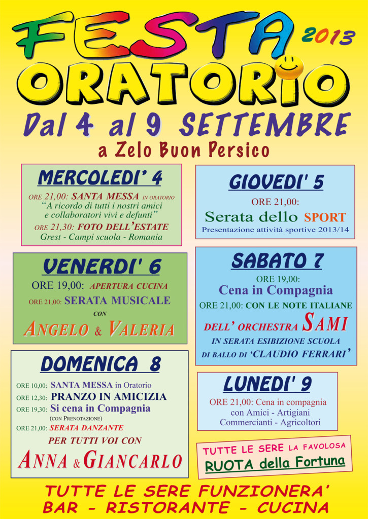 Oratorio in Festa 2013:Zelo